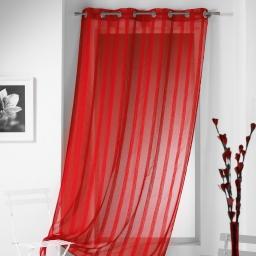 Panneau a oeillets 140 x 240 cm voile sable raye malta Rouge