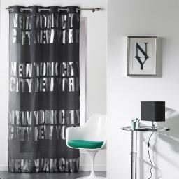 Panneau a oeillets 140 x 260 cm voile imp. argent ny silver  des. place Noir