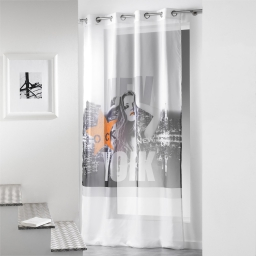 Panneau a oeillets 140 x 260 cm voile imp. transfert diva  des. place Blanc/Or