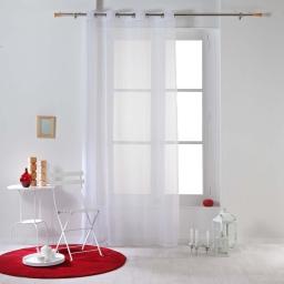Panneau a oeillets 140 x 260 cm voile raye horizon Blanc
