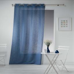 Panneau a oeillets 140 x 280 cm effet lin tisse haltona Bleu