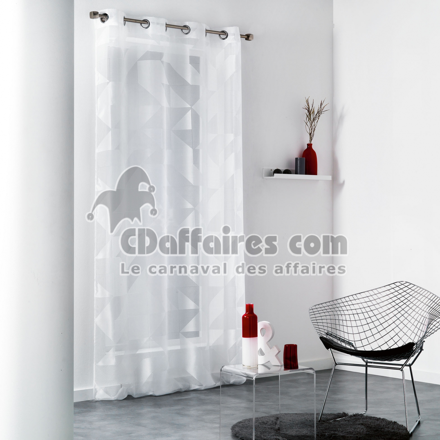 panneau a oeillets 140 x 280 cm organza devore galbiano blanc cdaffaires. Black Bedroom Furniture Sets. Home Design Ideas