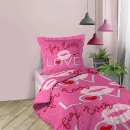 parure 2 p. 140 x 200 cm imprime 42 fils allover sweet pink