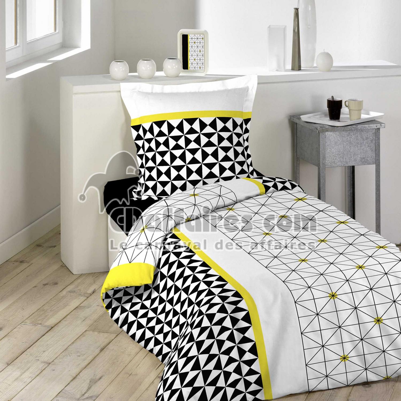 parure 2 p 140 x 200 cm imprime 57 fils allover yellometric cdaffaires. Black Bedroom Furniture Sets. Home Design Ideas