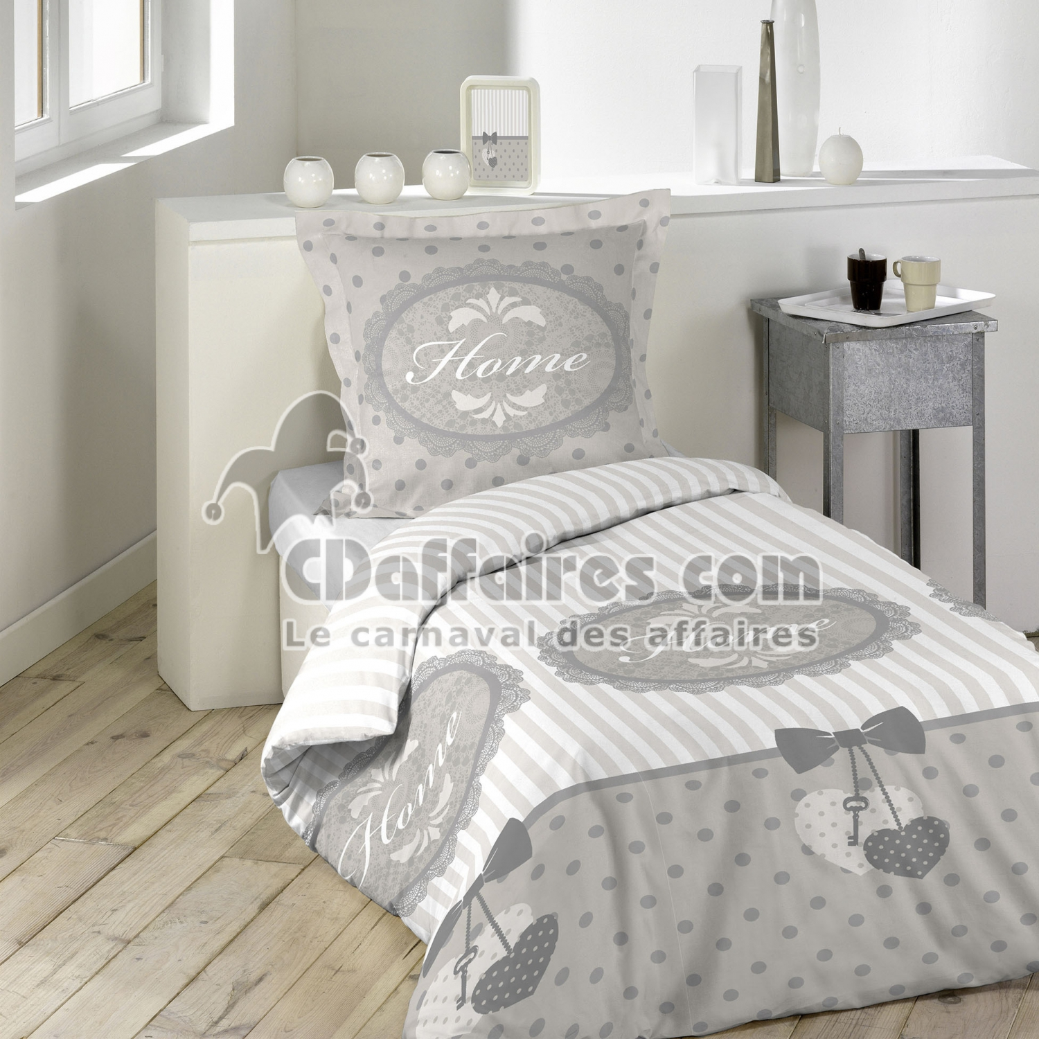 parure 2 p 160 x 220 cm imprime 42 fils allover romantic home cdaffaires. Black Bedroom Furniture Sets. Home Design Ideas