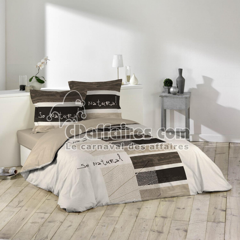 parure 3 p 240 x 220 cm imprime 42 fils allover so natural cdaffaires. Black Bedroom Furniture Sets. Home Design Ideas