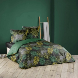 parure 3 p. 240 x 220 cm imprime 42 fils allover tropical green