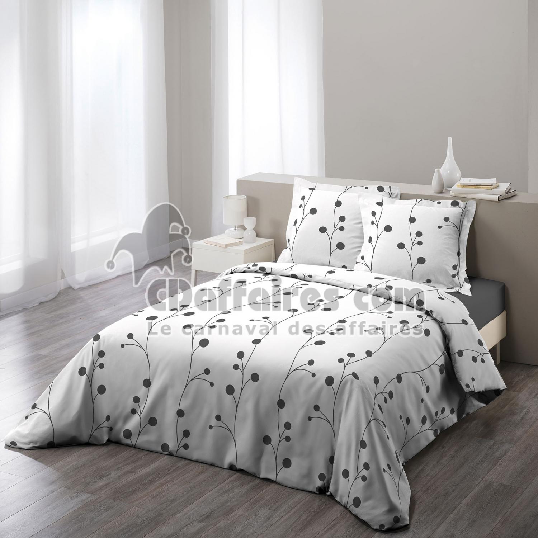 parure 3 p 240 x 220 cm imprime 57 fils allover clochettes blanc cdaffaires. Black Bedroom Furniture Sets. Home Design Ideas