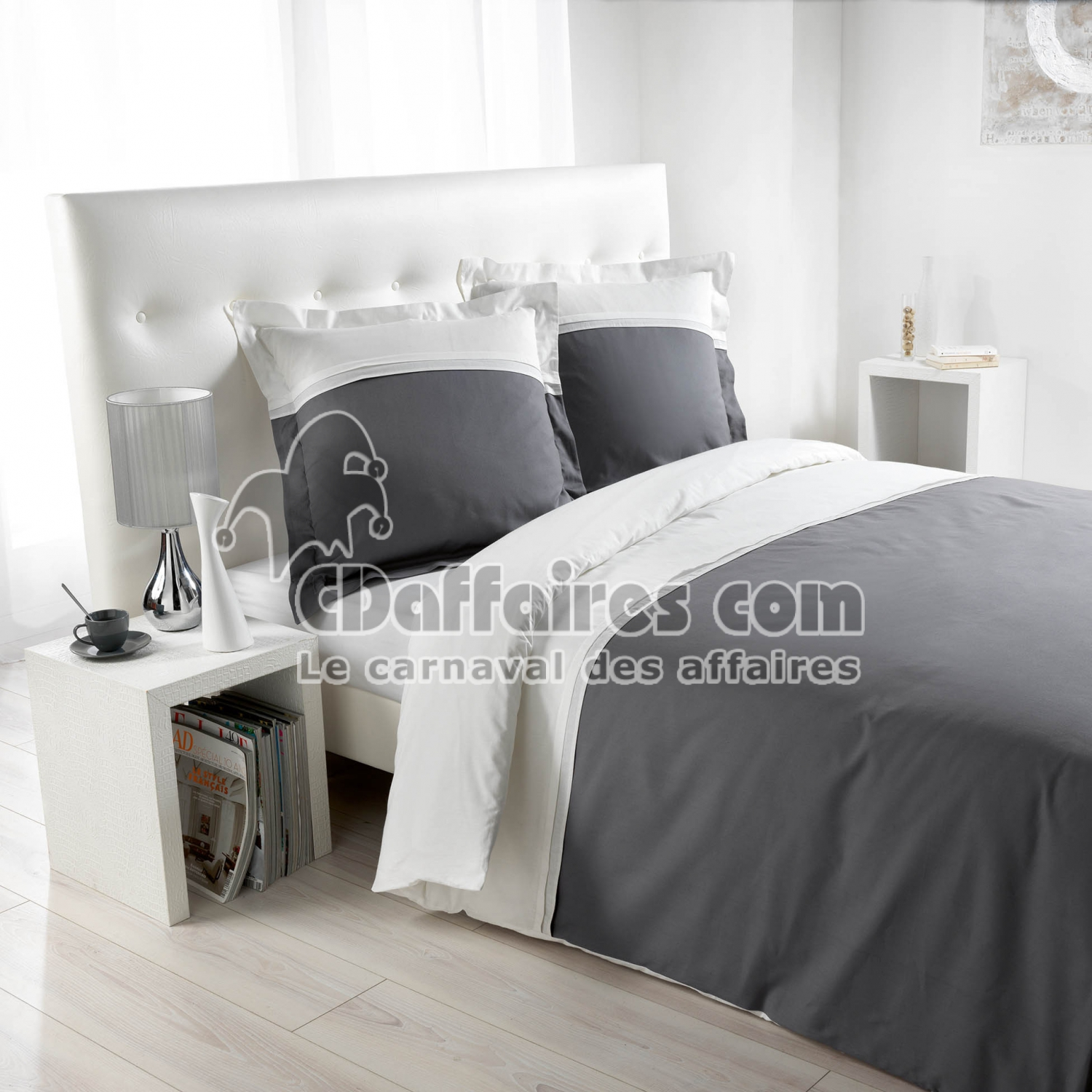 parure 3 p 240 x 220 cm plis religieuses bic 57 fils duoline blanc gris cdaffaires. Black Bedroom Furniture Sets. Home Design Ideas