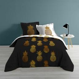 Parure coton réversible 240 x 220 cm imprimé noir et or Ananas queen