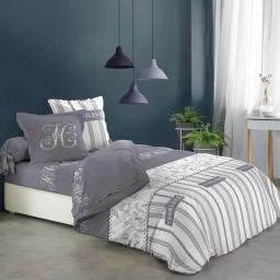 parure couette+ draps 6 pièces 260 x 240 cm imprime cosy house