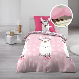 parure de couette 140 x 200  pink lama+ drap housse 90 x 190 Blanc
