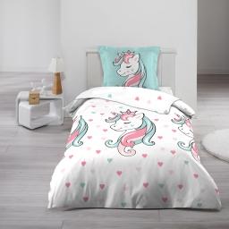Parure de drap 90 x 190 cm imprimé 100% coton 57 fils  Licorne sweet unicorn