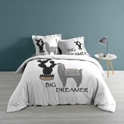 Parure de lit 200 x 200 cm 100% coton imprimé Big dreamer