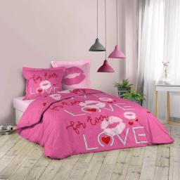 Parure de lit 240 x 220 cm coton imprimé sweet pink