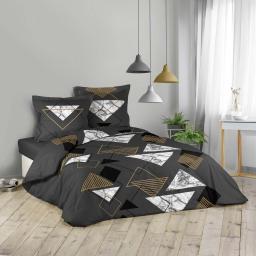 Parure de lit 260 x 240 cm 100% coton imprime Santorini