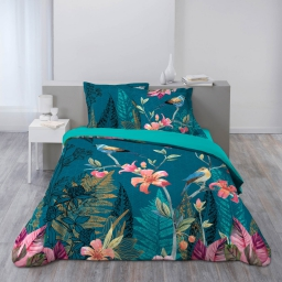 Parure de lit coton 2 personnes 200 x 200 cm imprimée Christina