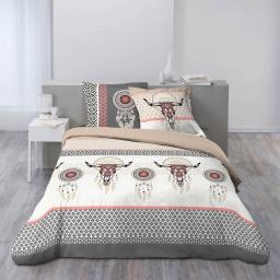 Parure de lit coton 2 personnes 240 x 220 cm imprimée Amulette