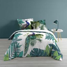 Parure de lit coton 2 personnes 240 x 220 cm imprimée Greeni