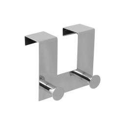 patere de porte metal 2 boutons l12.5cm chromé