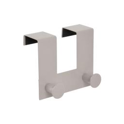 patere de porte metal 2 boutons l12.5cm taupe