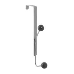 patere de porte metal 2 crochets gris