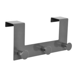 patere de porte metal 3 boutons l22cm gris