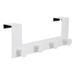 patere de porte metal 4 boutons l27.5cm blanc
