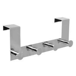 patere de porte metal 4 boutons l27.5cm chromé