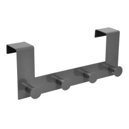 patere de porte metal 4 boutons l27.5cm gris