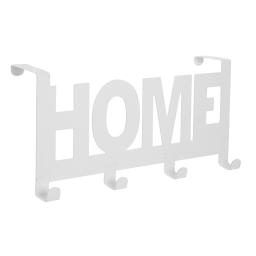 """patere de porte metal 4 crochets """"home"""" l26cm blanc"""