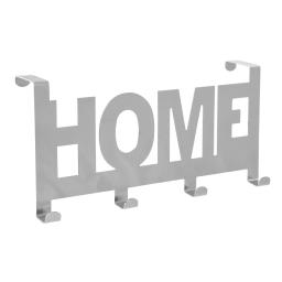 """patere de porte metal 4 crochets """"home"""" l26cm chromé"""
