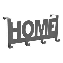 """patere de porte metal 4 crochets """"home"""" l26cm gris"""