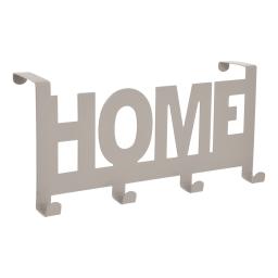 """patere de porte metal 4 crochets """"home"""" l26cm taupe"""