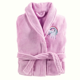 peignoir col chale 6/8 ans coral brode licorne