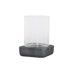 photophore carré base ficonstone h21cm gris anthracite