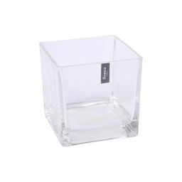 photophore carré verre transparent 12.5*12.5*h12.5cm