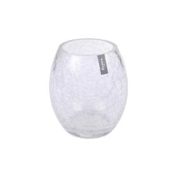 photophore rond verre transparent craquelé h15*ø9.5cm