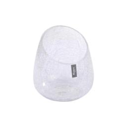 photophore verre biseauté craquelé transparent h17.5*ø13cm
