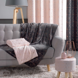 Plaid 125 x 150 cm coral imprime metallise quadris Rose/Or rose
