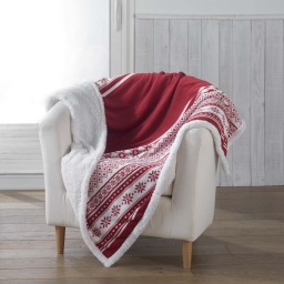 Plaid 125 x 150 cm coral imprime/sherpa finland Rouge