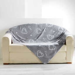 Plaid 125 x 150 cm flanelle imprimee home love Gris