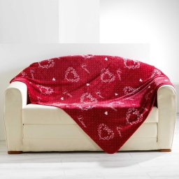 Plaid 125 x 150 cm flanelle imprimee home love Rouge