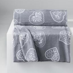 Plaid 125 x 150 cm flanelle imprimee loveur Gris