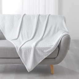 Plaid 125 x 150 cm flanelle jacquard artdeco Blanc