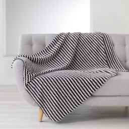 Plaid 125 x 150 cm flanelle jacquard denver Noir
