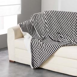 Plaid 125 x 150 cm flanelle jacquard/sherpa sydney Noir