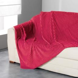 Plaid 125 x 150 cm flanelle jacquard uni zeline Rouge