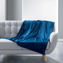Plaid 125 x 150 cm flanelle relief sequoia Bleu