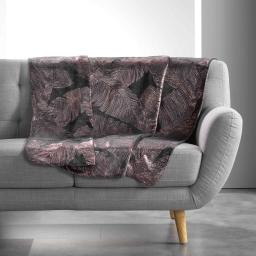 Plaid 125 x 150 cm imprime metallise veggy Anthracite/or Rose